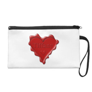 Tiffany. Red heart wax seal with name Tiffany Wristlet