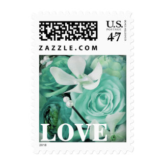 Tiffany Seafoam Peony Rose Orchid Postage Stamps