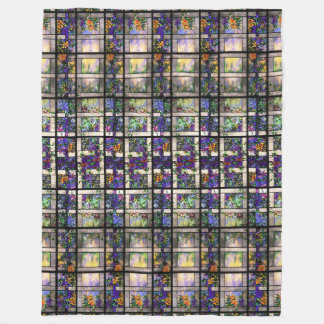 Tiffany Stained Glass Clematis Floral Flowers Fleece Blanket