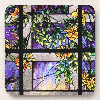 Tiffany Stained Glass Clematis Flower Cork Coaster