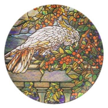 McTiffany Tiffany Aqua Tiffany Stained Glass Cockatoo Plate
