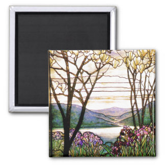 Tiffany Stained Glass Iris Flowers Floral 2 Inch Square Magnet