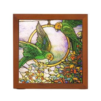 Tiffany Stained Glass Parrot Birds Desk Organizer