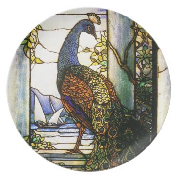 McTiffany Tiffany Aqua Tiffany Stained Glass Peacock Plate