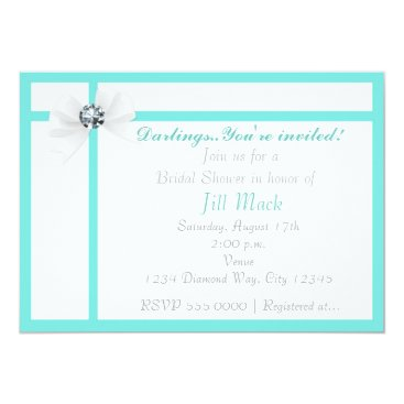 Beach Themed Tiffany Style Bling Bridal Shower Party Invitation
