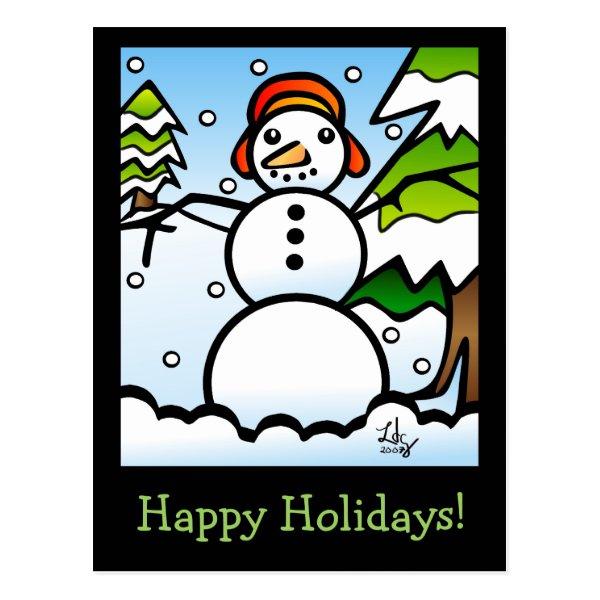 Tiffany Style Snowman Postcard
