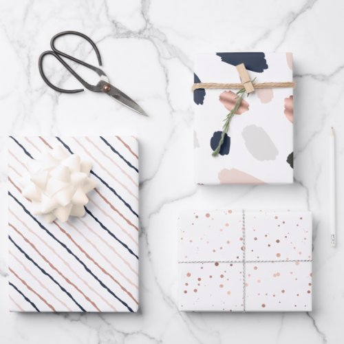 Tiffany Styles Collection Rose Gold  Navy Blue Wrapping Paper Sheets