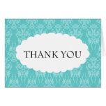 Tiffany Teal Damask Wedding Thank You Card