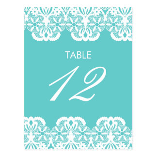 Tiffany Teal Lace Table Number Card