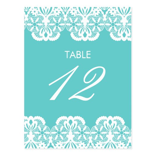 Tiffany Teal Lace Table Number Card Postcard