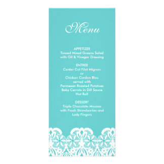 Tiffany Teal Lace Wedding Menu