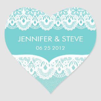 Tiffany Teal Lace Wedding Stickers sticker