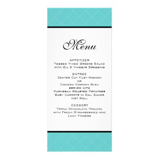 Tiffany Teal Wedding Menu