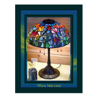 Tiffany Tulip Lamp Art Postcard