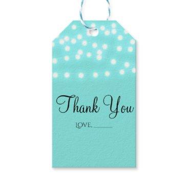 McTiffany Tiffany Aqua Tiffany Turquoise Blue & String Lights Elegant Gift Tags