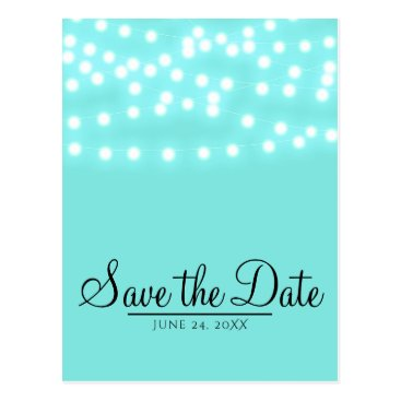 McTiffany Tiffany Aqua Tiffany Turquoise Blue String Lights Save the Date Postcard
