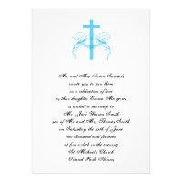 Tiffany Turquoise Cross Christian Wedding Invite