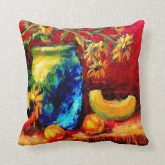 Tiffany Vase, Sunflowers Harvest Table by Sharles Throw Pillows
