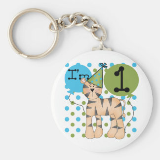 Tiger 1st Birthday T-shirts and Gifts Basic Round Button Keychain