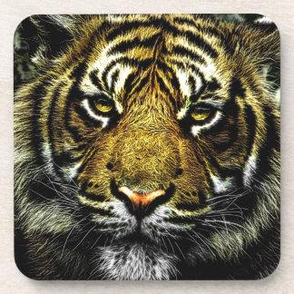 tiger-208851 tiger head portrait digital art cat's beverage coaster