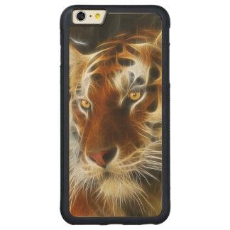 Tiger 3d artworks carved maple iPhone 6 plus bumper case