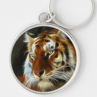 Tiger 3d artworks Silver-Colored round keychain