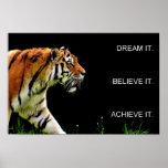 tiger achievement motivational quote poster