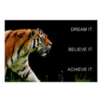 tiger achievement motivational quote poster
