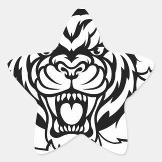 Tiger American Football Ball Breaking Background Star Sticker
