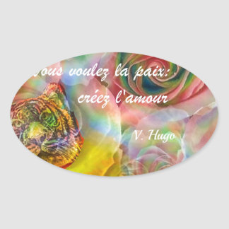 Tiger among flowers oval sticker