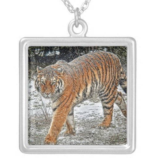 Tiger Amur in Snow Fall Necklace