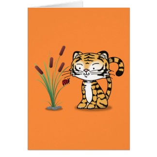 Tiger and a ladybug card