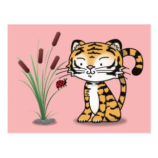 Tiger and a ladybug postcard
