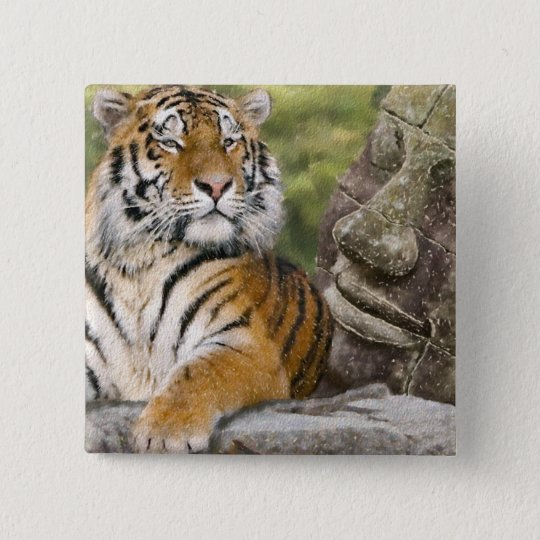 Tiger and Buddhist Temple Button