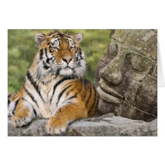 Tiger and Buddhist Temple Greeting Card