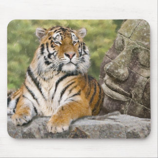 Tiger and Buddhist Temple Mouse Pad