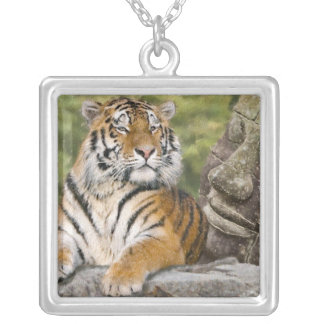 Tiger and Buddhist Temple Silver Plated Necklace