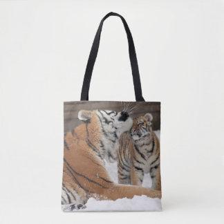 Tiger And Cub Hugs Tote Bag