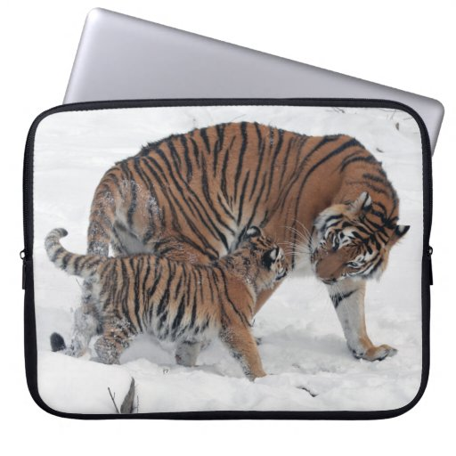 Tiger and cub in snow beautiful photo, gift laptop computer sleeves