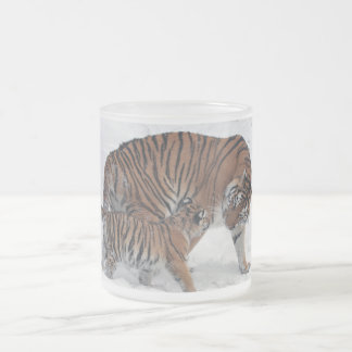 Tiger and cub in snow beautiful photo mug, gift frosted glass coffee mug
