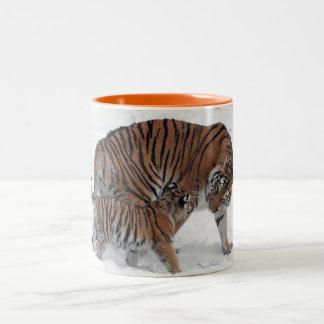 Tiger and cub in snow beautiful photo mug, gift Two-Tone coffee mug