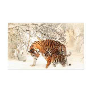 Tiger and cub in snow canvas print