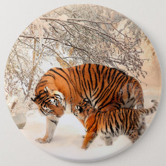 Tiger and cub - tiger pinback button