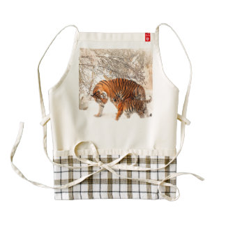 Tiger and cub - tiger zazzle HEART apron