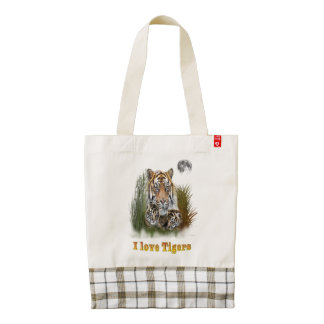 Tiger and cubs art zazzle HEART tote bag