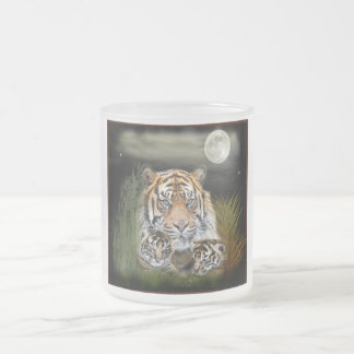 Tiger and cubs frosted glass coffee mug