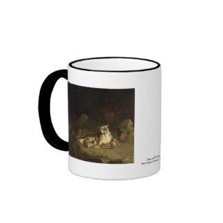 Tiger and Cubs Jean-Leon Gerome 1884 Ringer Coffee Mug