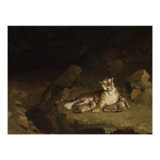 Tiger and Cubs Jean-Leon Gerome 1884 Posters