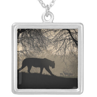 Tiger and Deer Silver Plated Necklace