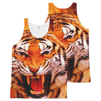 Tiger and Flame All-Over Printed Tank Top